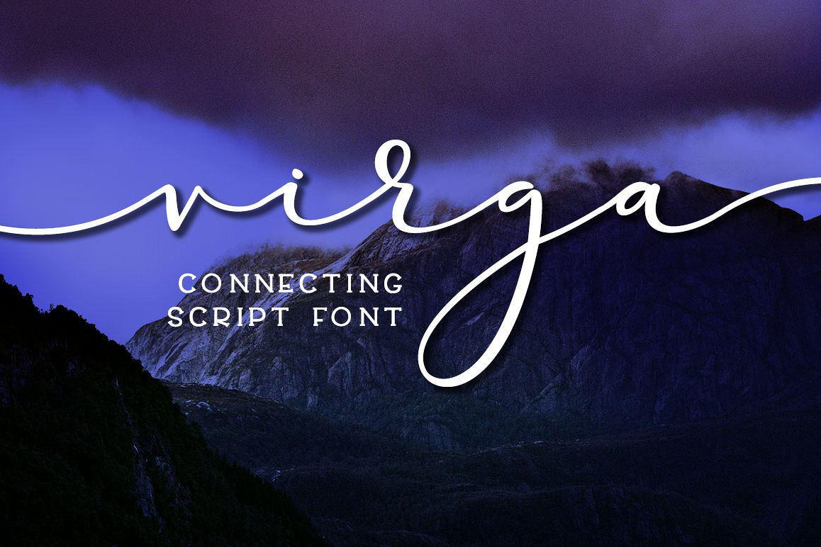Virga: connecting calligraphy script font