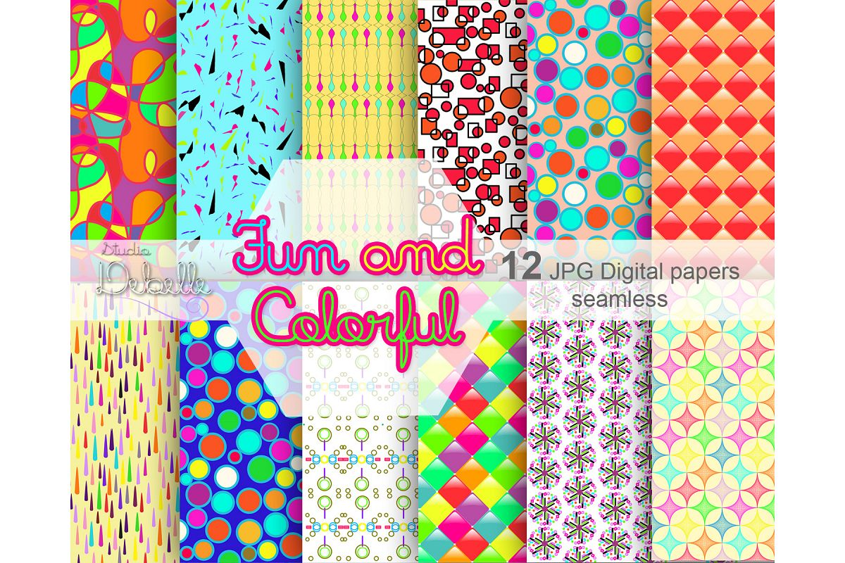 Fun and Colorful digital papers seamless pattern example image 1