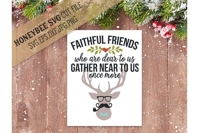 Faithful Friends Hipster Deer svg example image 1