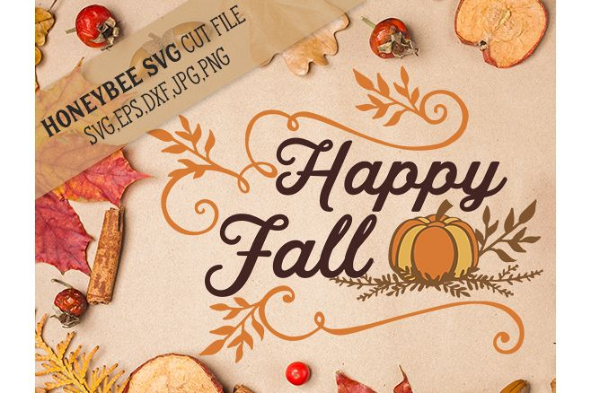 Happy Fall Pumpkin svg example image 1