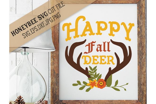 Happy Fall Deer Bouquet svg example image 1