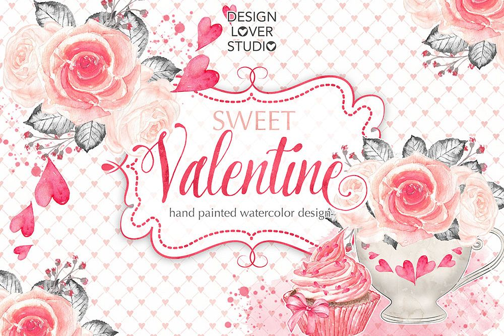 Watercolor Sweet Valentine design example image 1