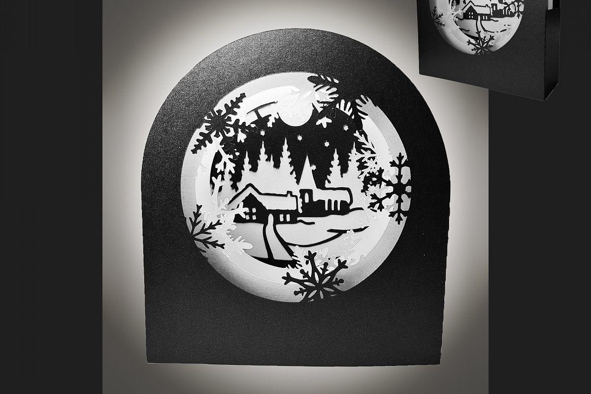 Snow Globe Winter Village shadow box card example image 1