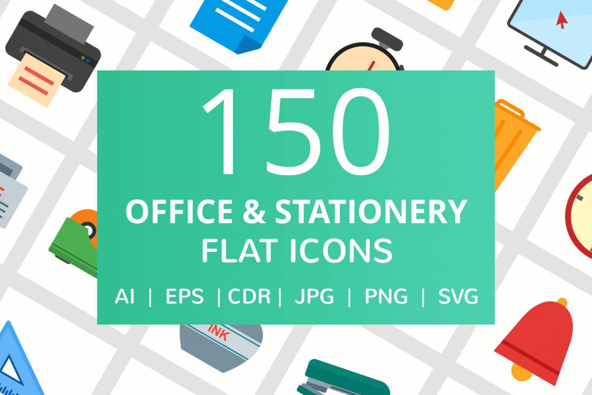 150 Office & Stationery Flat Icons example image 1