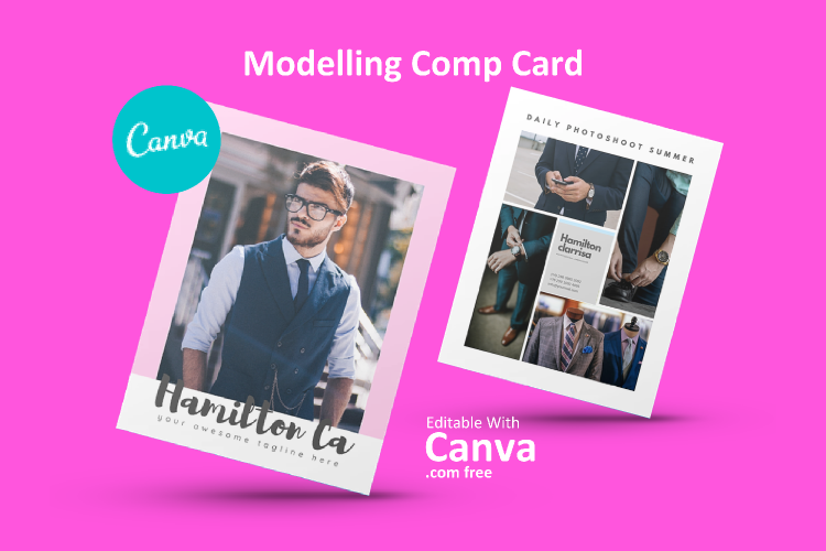Modelling Comp Card Canva Template Modern Professional example image 1