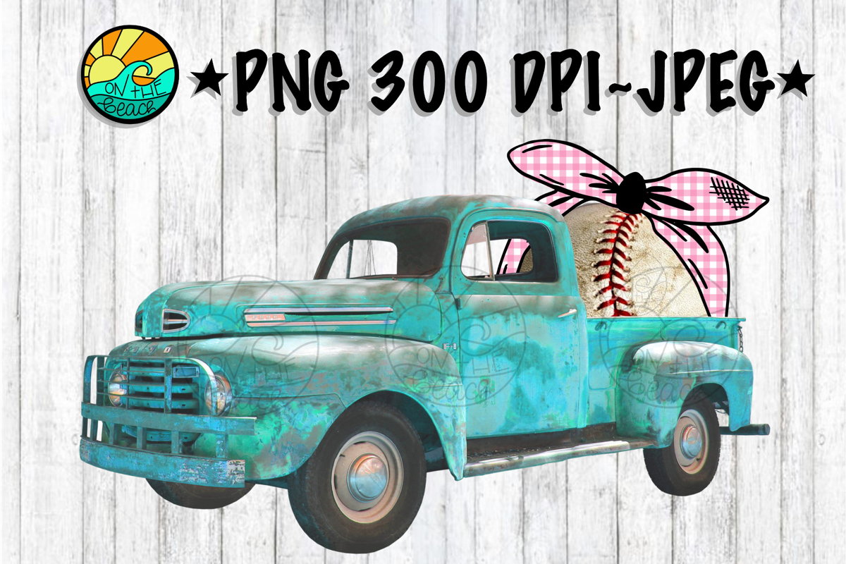 Vintage Truck - Baseball - Bandana - PNG for Sublimation example image 1