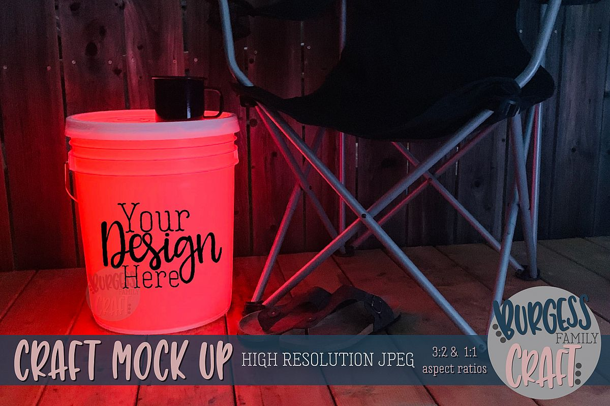 Bucket light table RedCraft mock up | High Resolution JPEG example image 1
