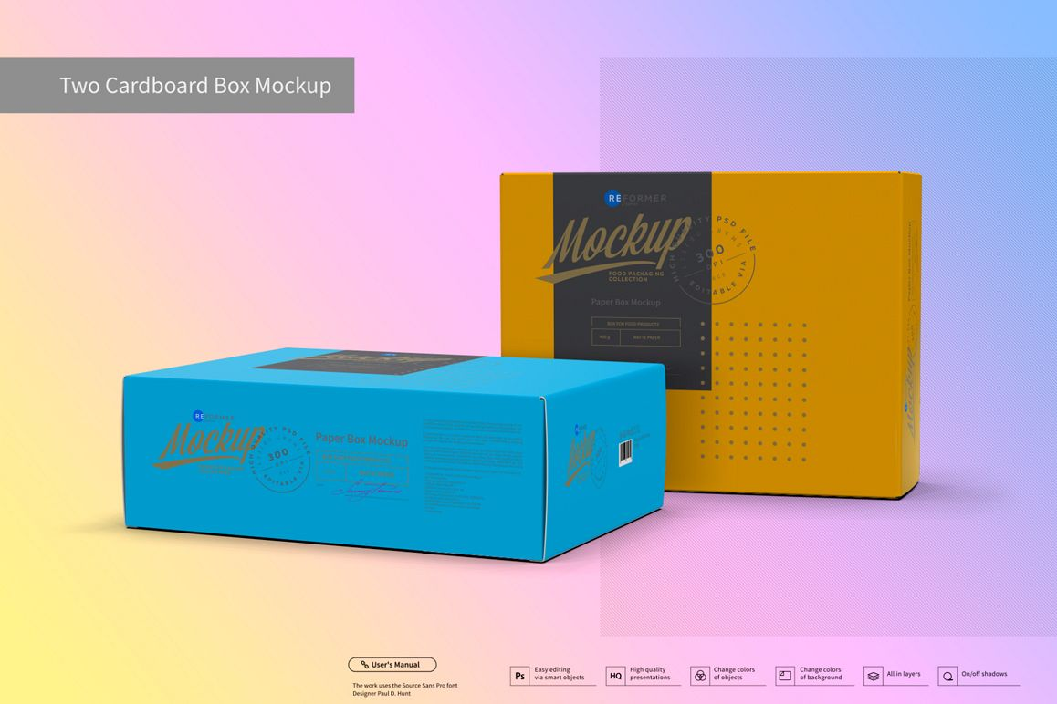 Two Cardboard Box Mockup example image 1