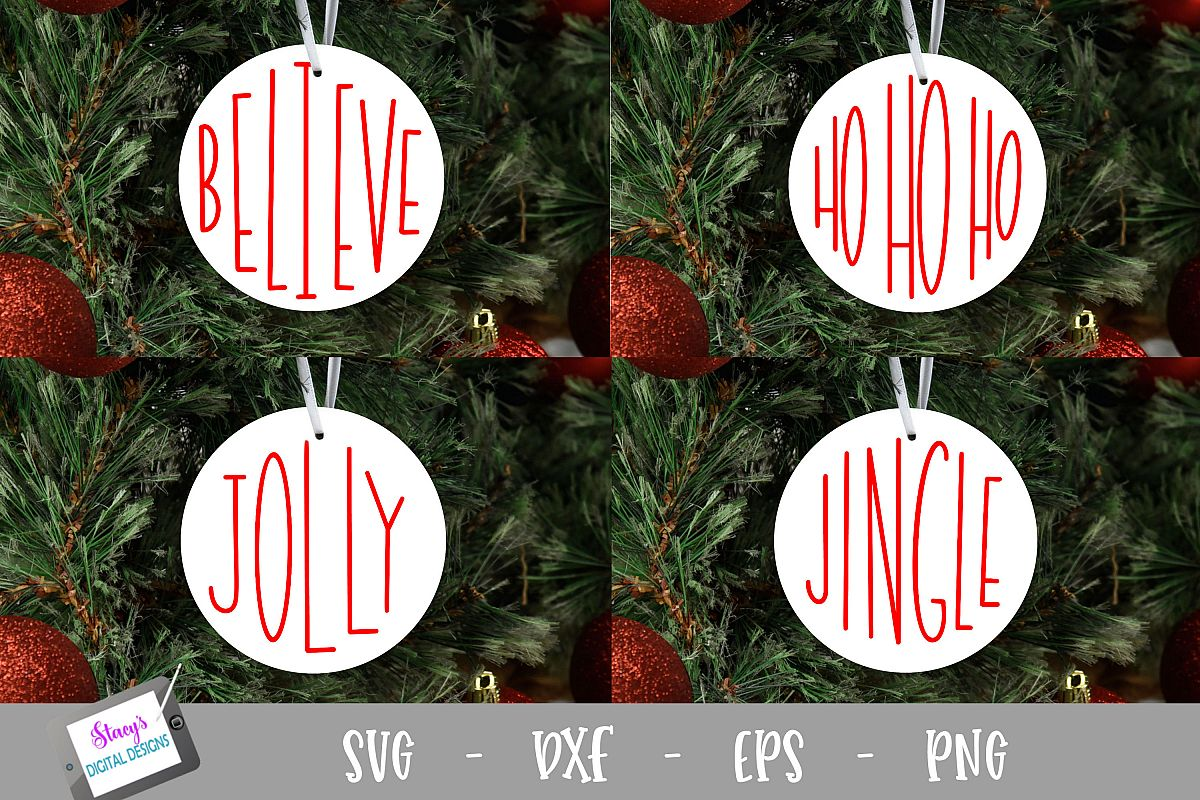 Christmas Words SVG - 4 round ornament designs example image 1