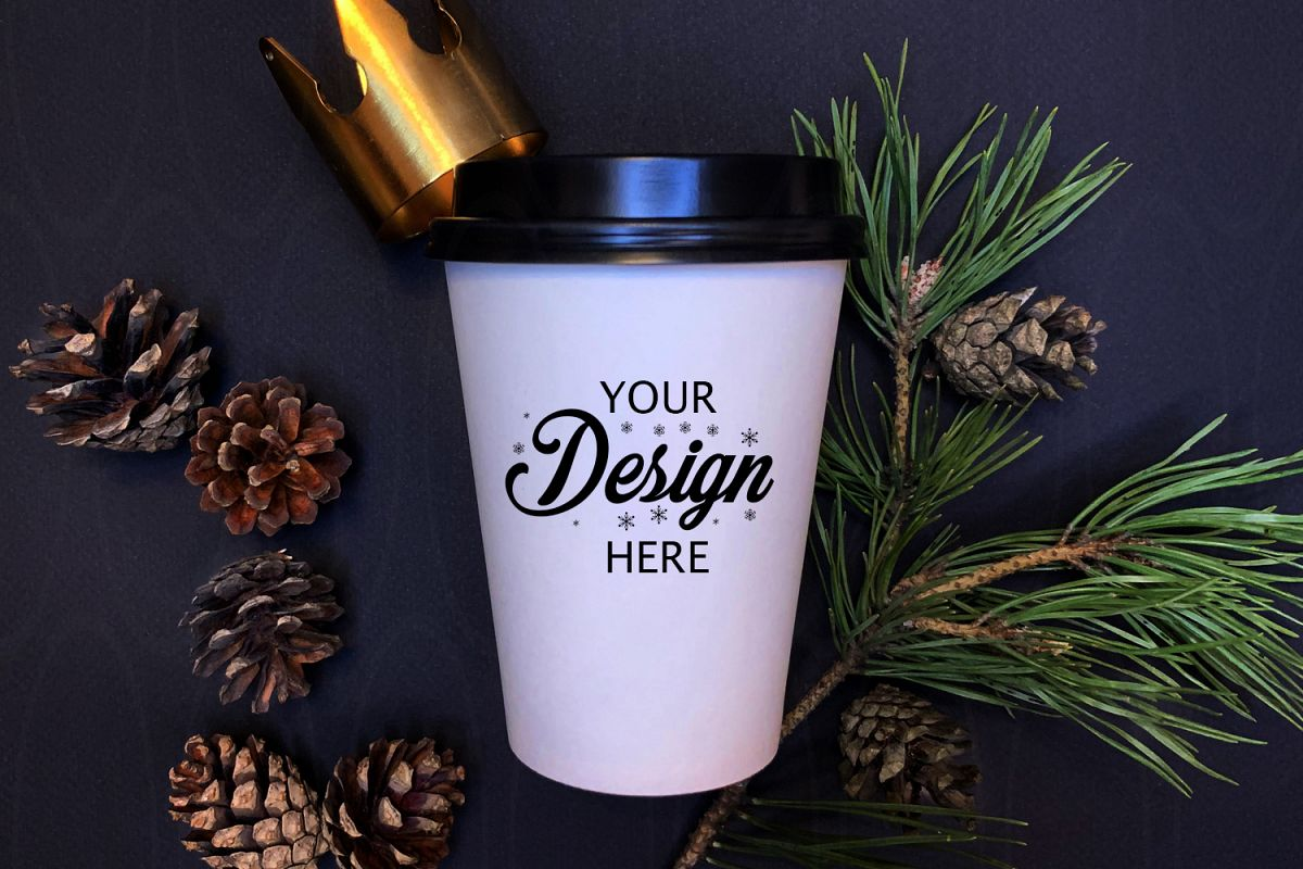 Holidays Styled Photography White coffee glass mock up example image 1