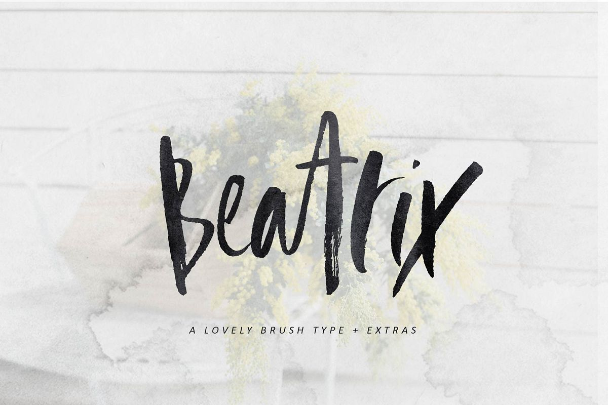 Beatrix Brush Font + Extras example image 1