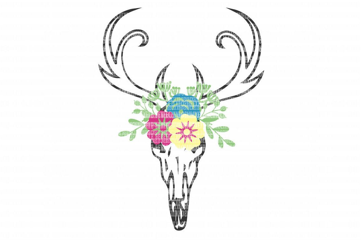 photograph relating to Printable Deer Head known as Deer Skull Bouquets SVG Information for Silhouette and Cricut Layout Region Xmas Slash Report Printable Move Decal DXF Professional Retain the services of