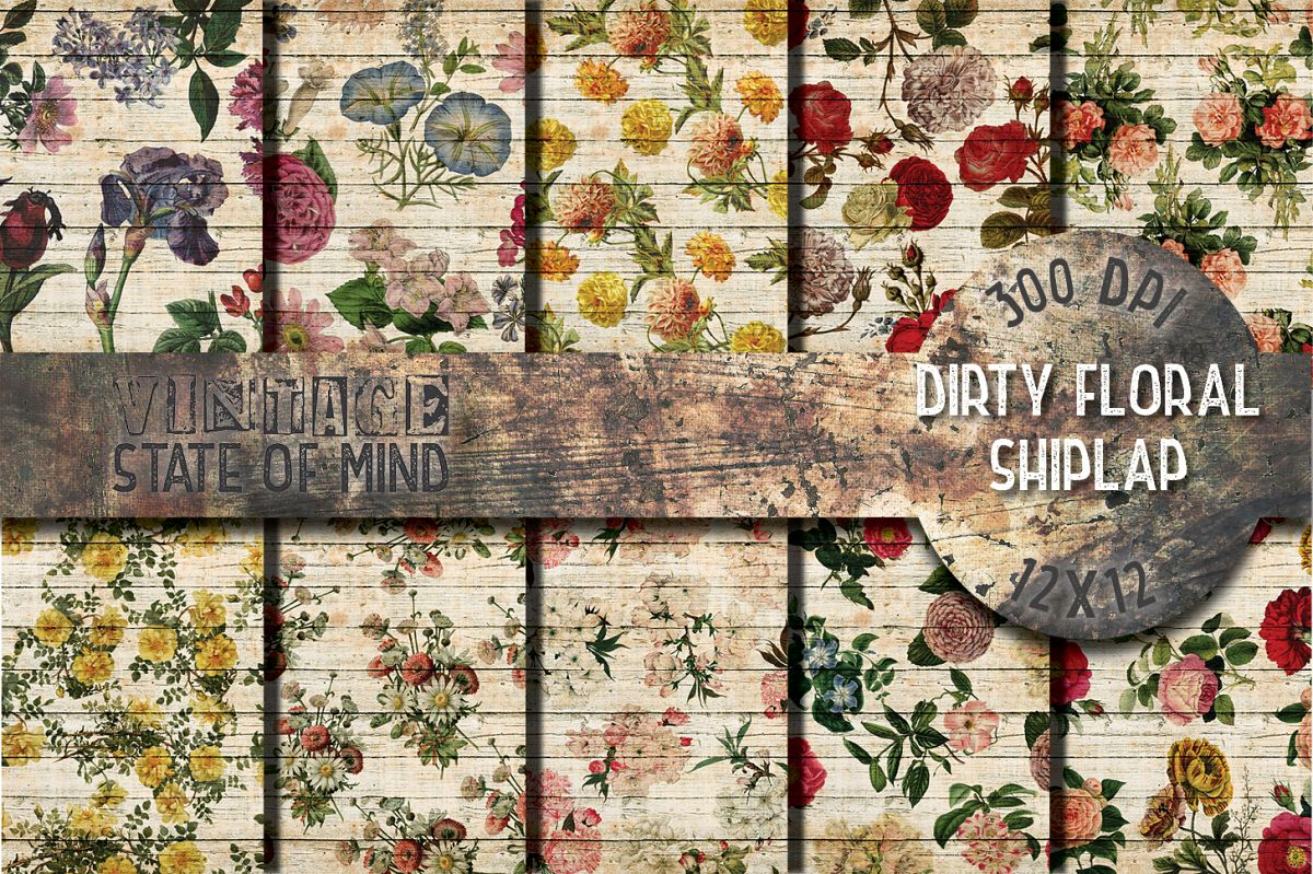 Floral Shiplap Digital Papers example image 1