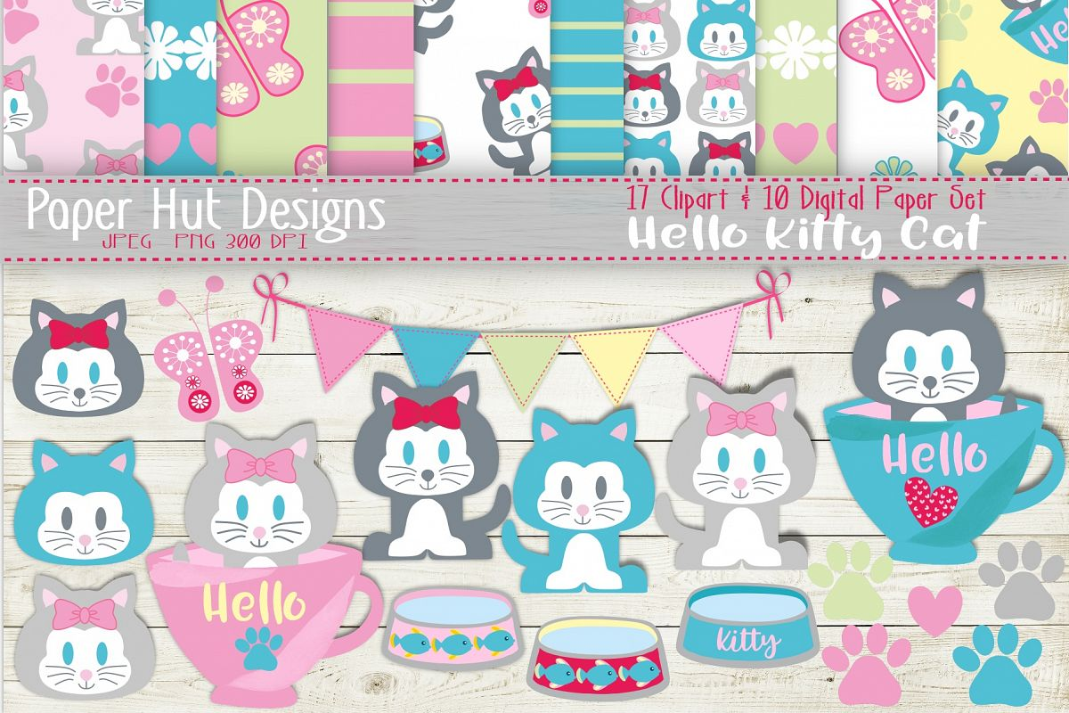 Kitten Cat Clipart and Digital Papers Set example image 1