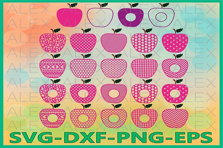 Apple SVG, Monogram Apple SVG Frames, Circle Frames Svg example image 1