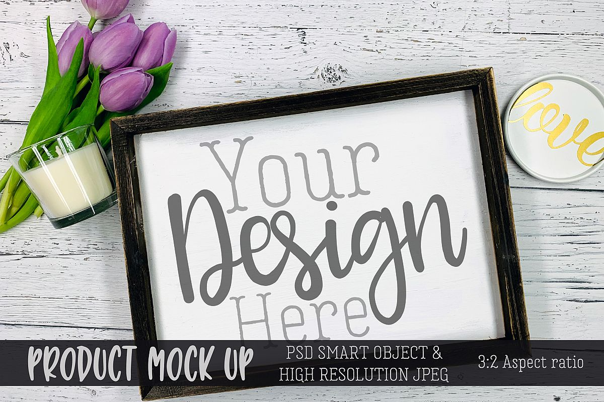 Spring wood sign Craft mock up   PSD & JPEG example image 1