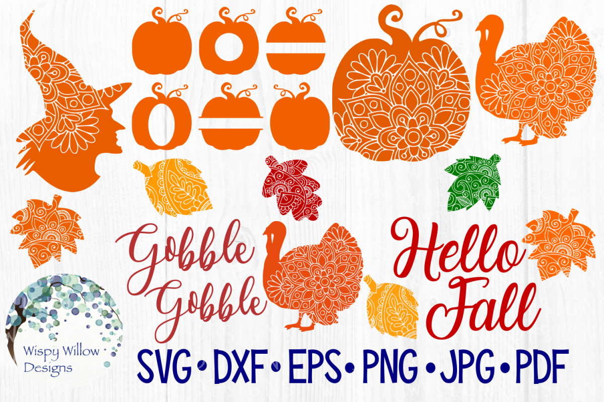Fall Bundle, Pumpkins, Zentangle, Mandala, SVG Cut Files example image 1