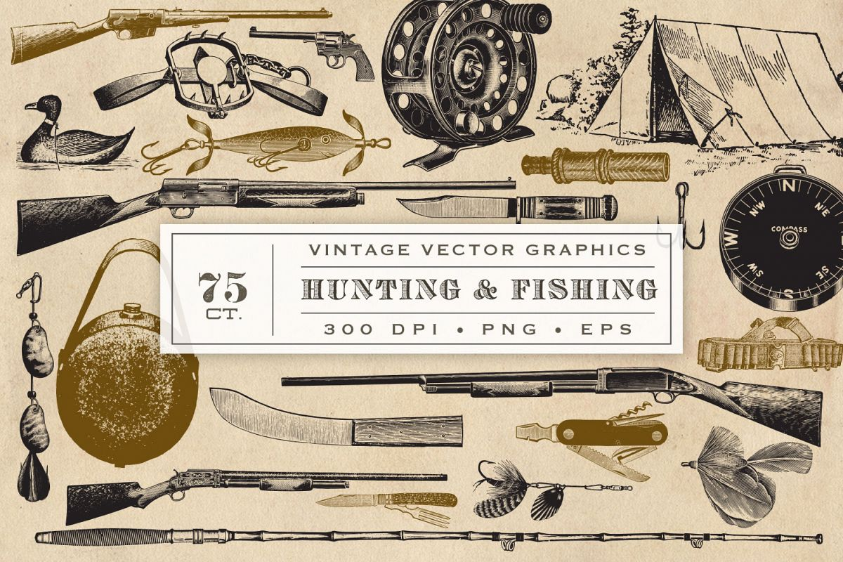Hunting Fishing and Camping Vector Graphics example image 1