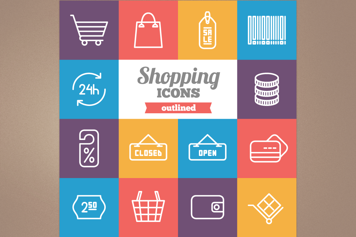 Outlined Shopping Icons example image 1