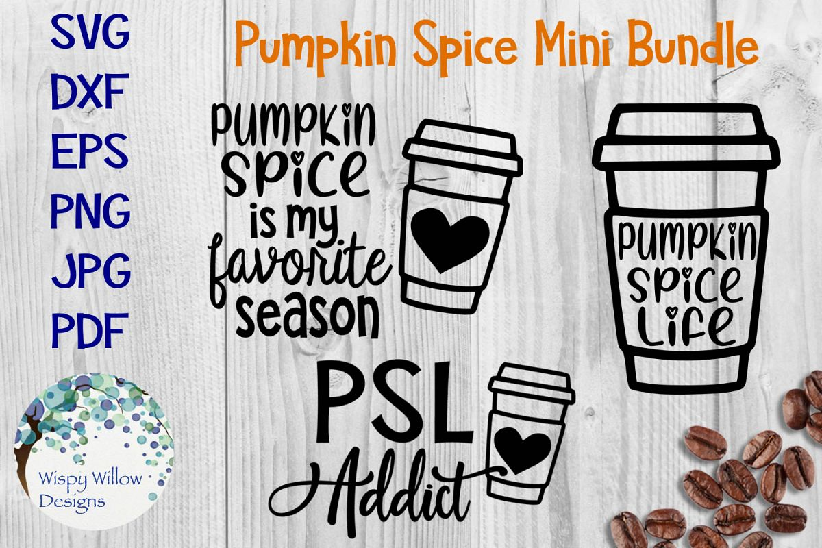 Pumpkin Spice Mini SVG Bundle | Fall Coffee Latte SVG Bundle example image 1