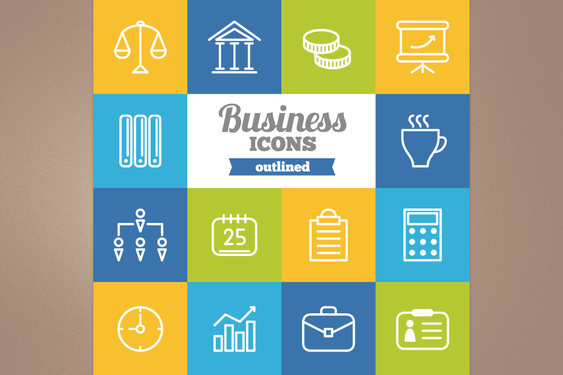 Outlined Business Icons example image 1