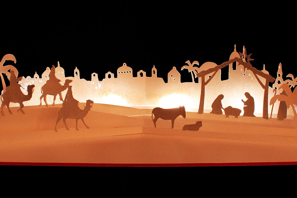Nativity scene simple style pop up card example image 1