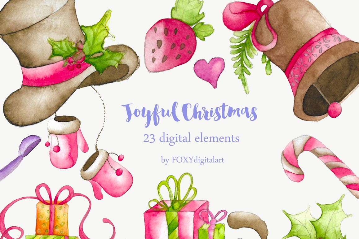 watercolor christmas clipart holiday example image 1
