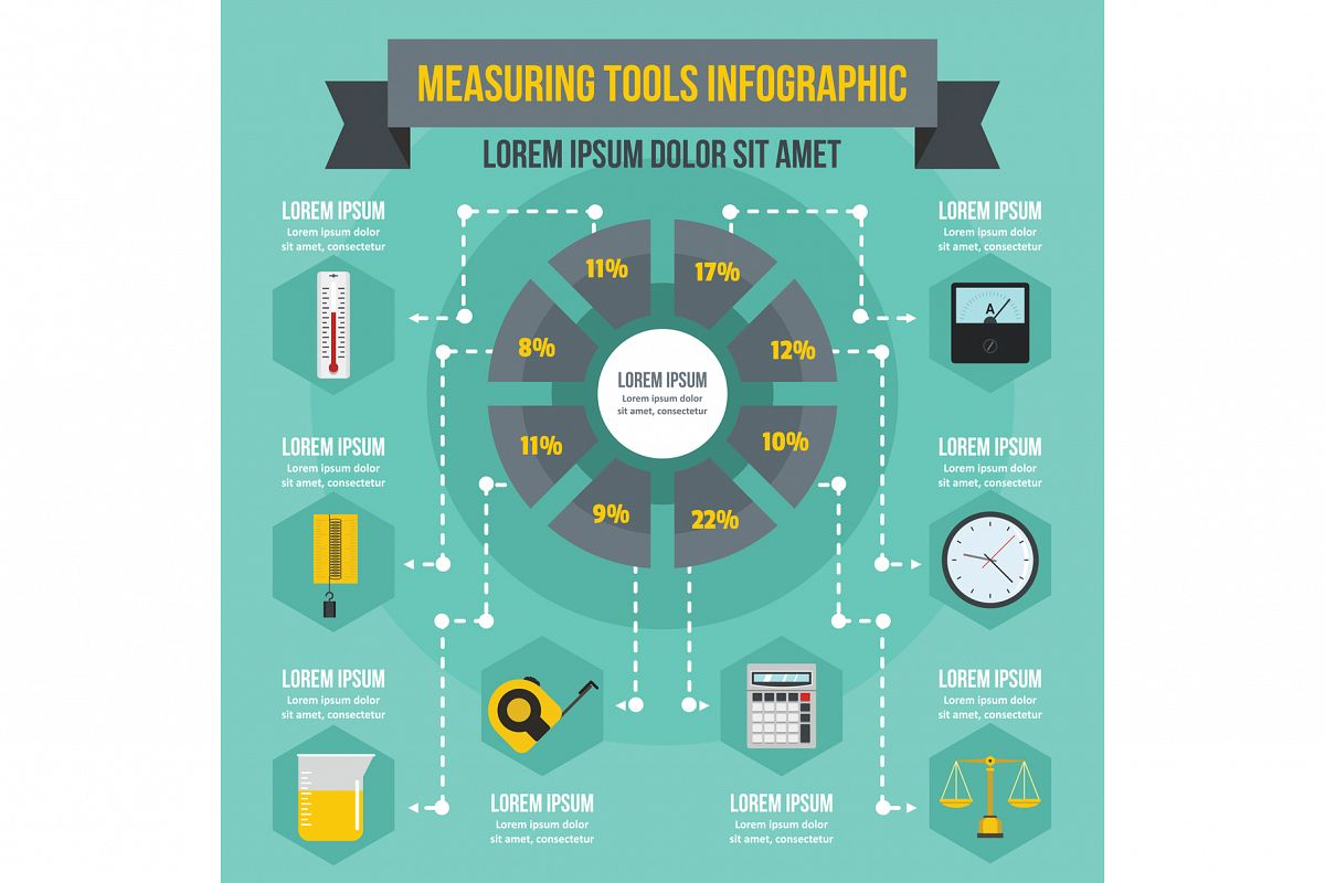 Measuring tools infographic concept, flat style example image 1