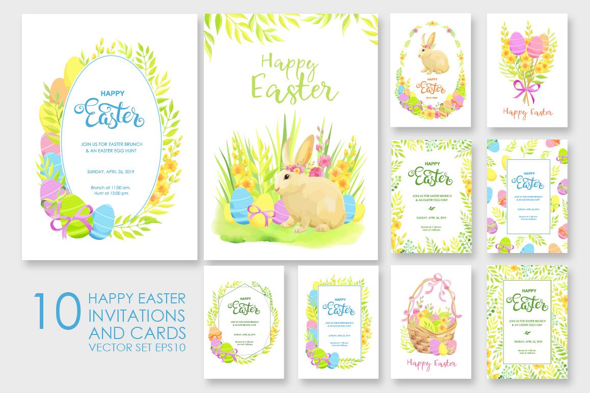 Happy Easter invitations and cards vector set example image 1