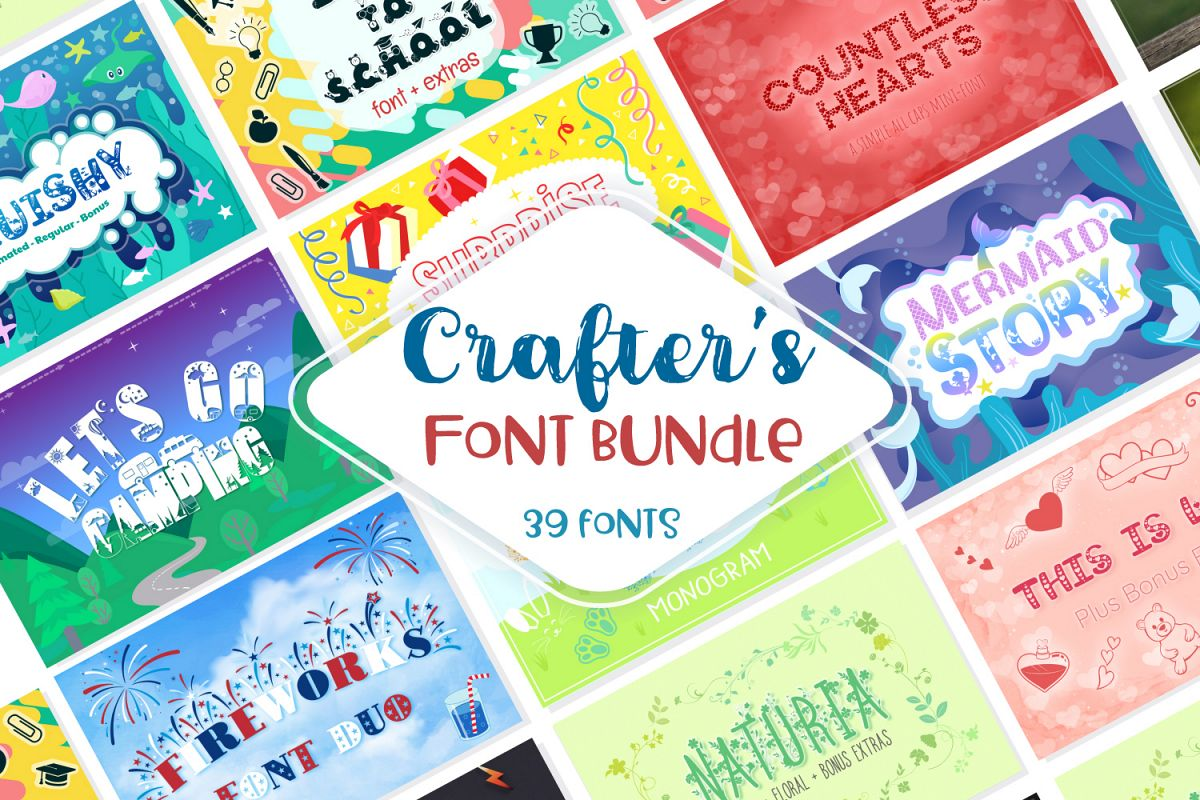 Sale! Crafter's Huge Font Bundle | 39 Fonts in 26 Families example image 1