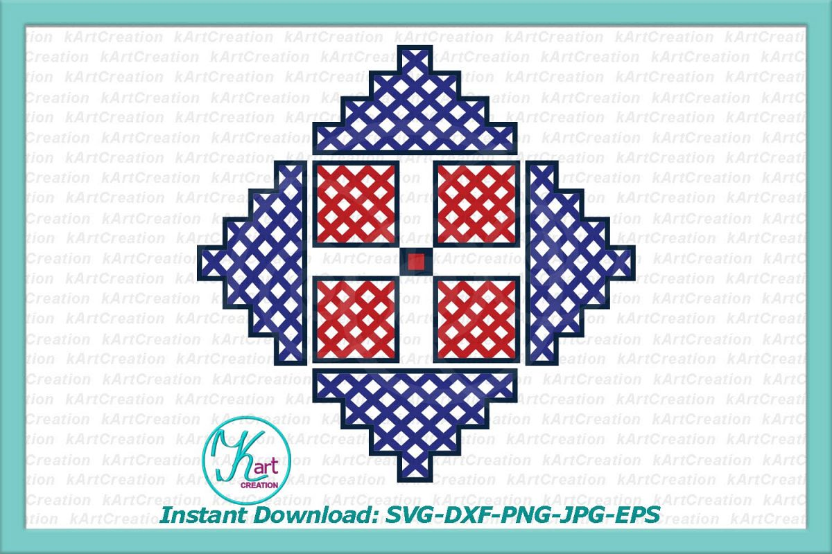 Cross Barn Quilt Ornament Cutting Printable File example image 1