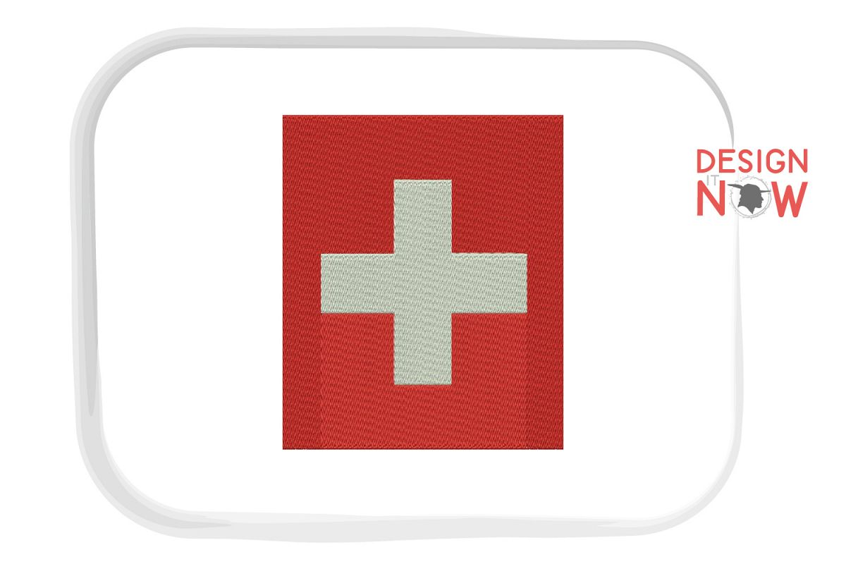 Flag Of Switzerland Embroidery Design, Map Embroidery example image 1