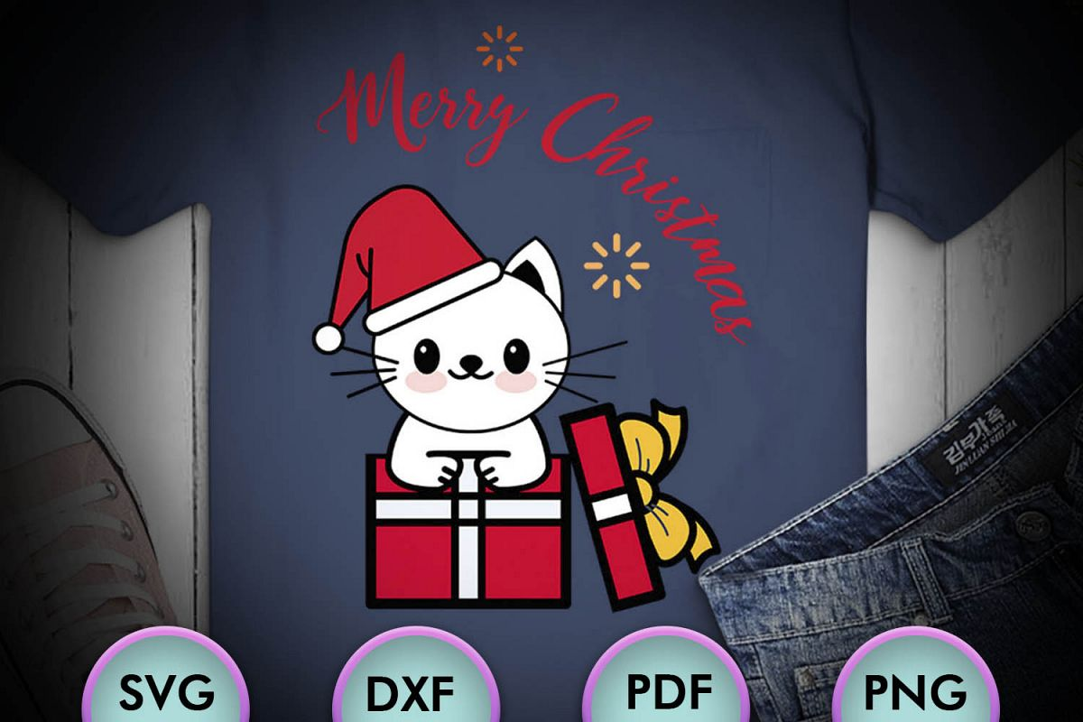 CAT SVG XMAS, Cat Christmas, white cat, cat happy christmas example image 1