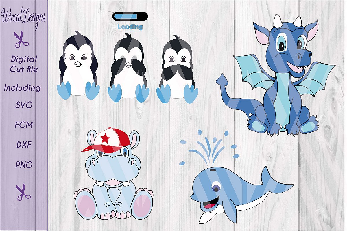 Boy bundle svg, SVG Bundle, penguins, dragons, hippo, soccer, svg files example image 1