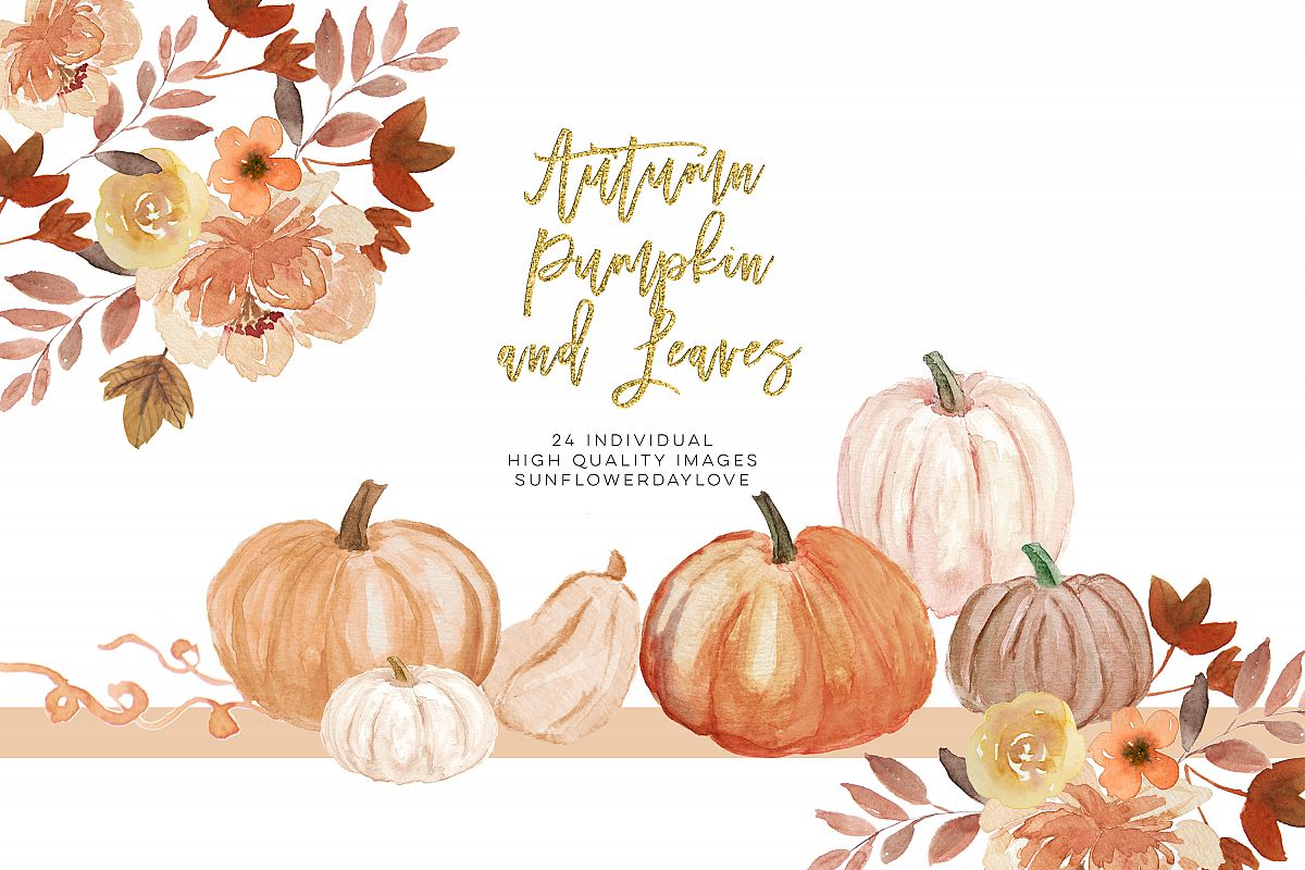Fall Leaves clipart, Simple Fall Autumn Watercolor clipart, example image 1