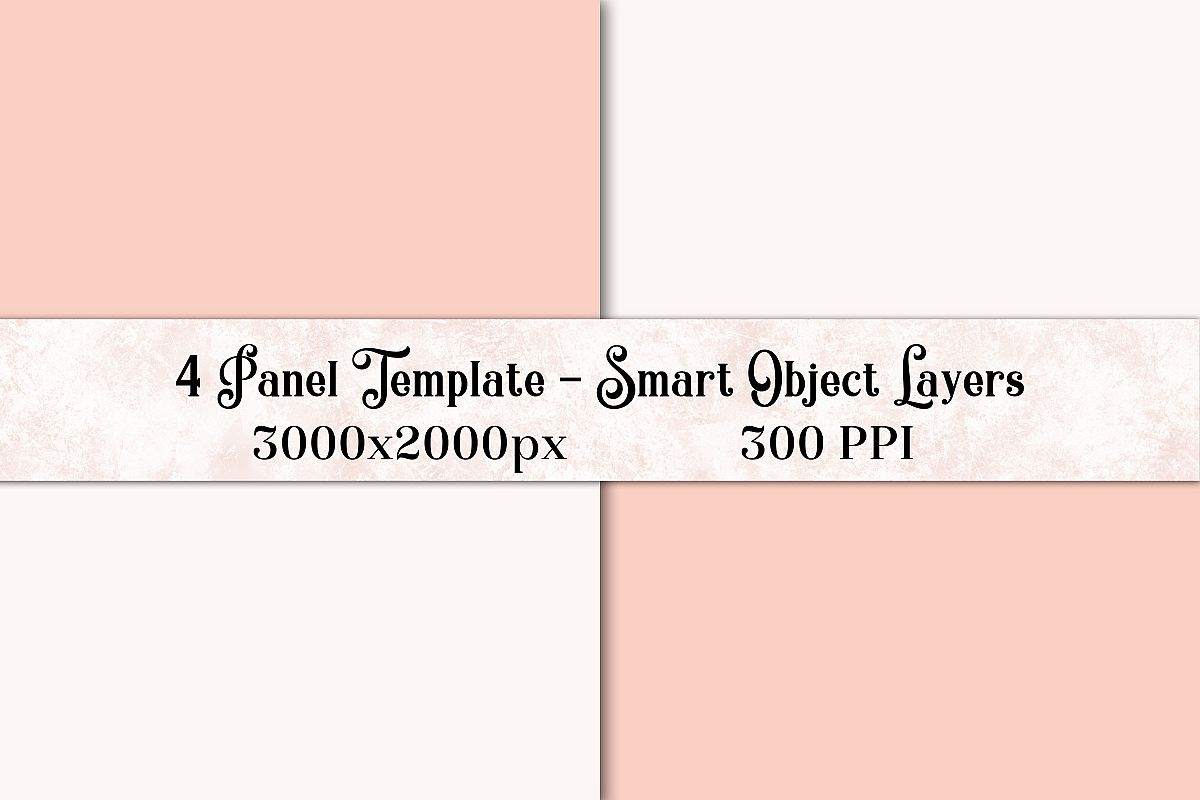 4 Panel Photoshop Template with Smart Object Layers example image 1