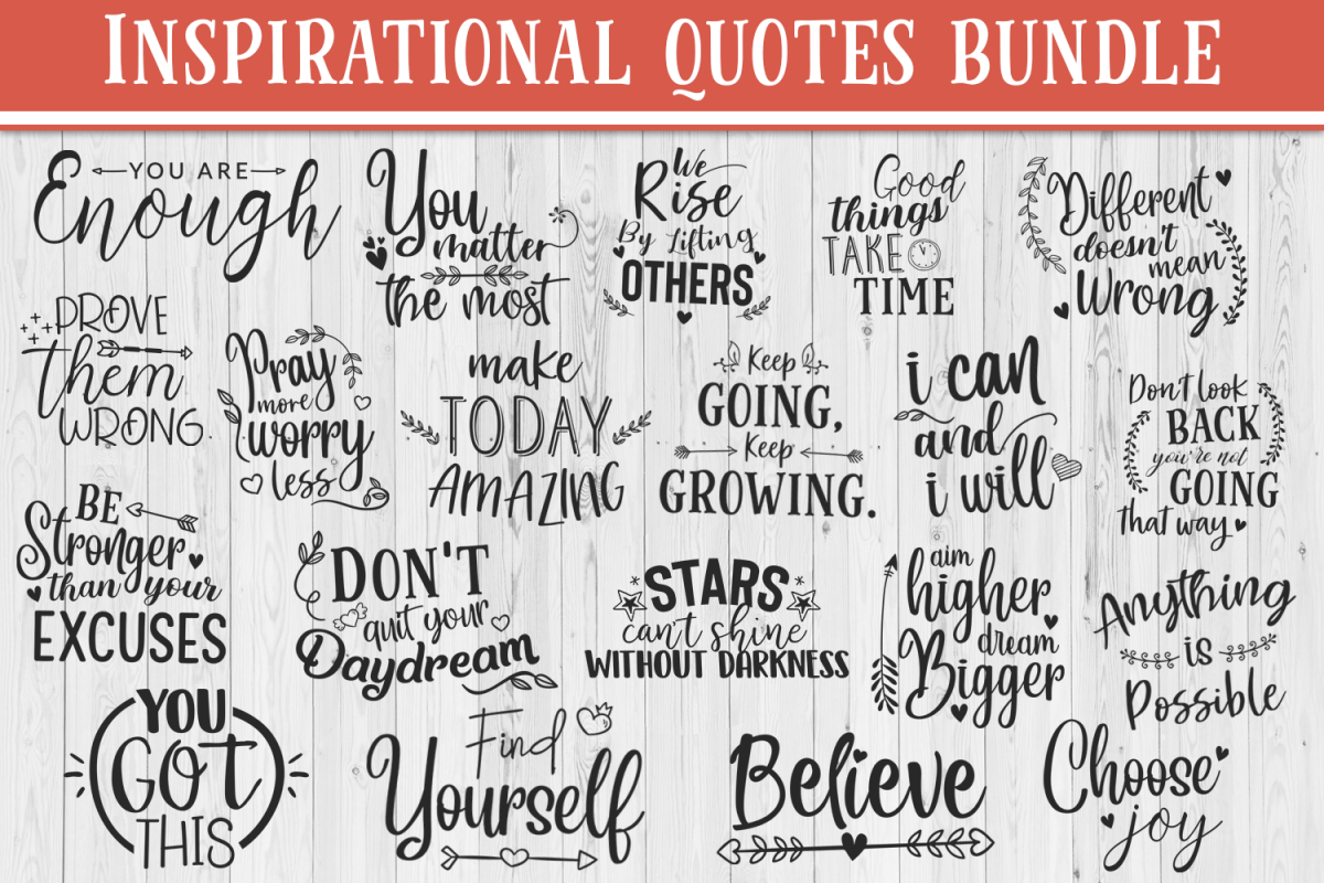 SALE! 20 Inspirational quotes bundle, motivational Quotes example image 1