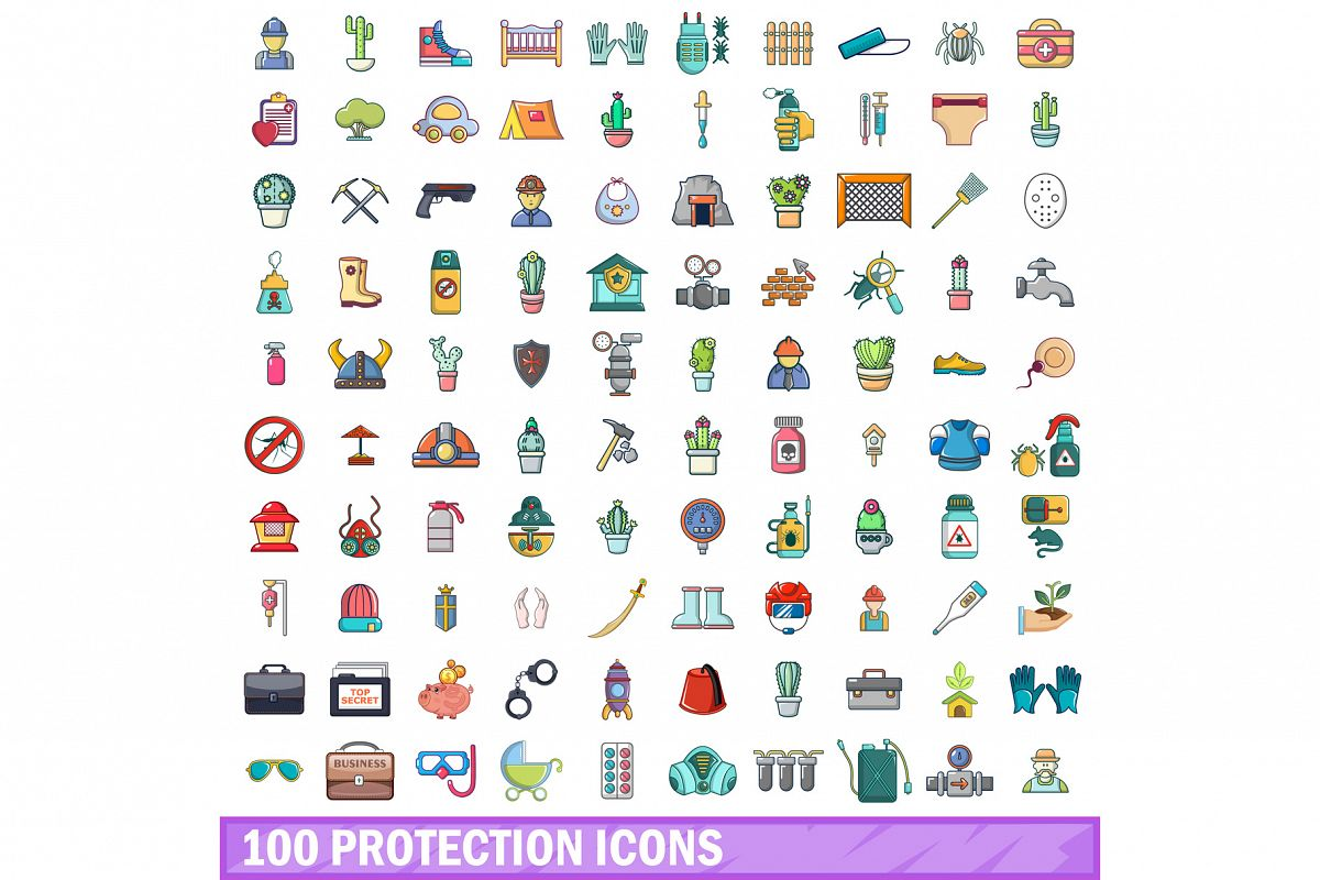 100 protection icons set, cartoon style example image 1