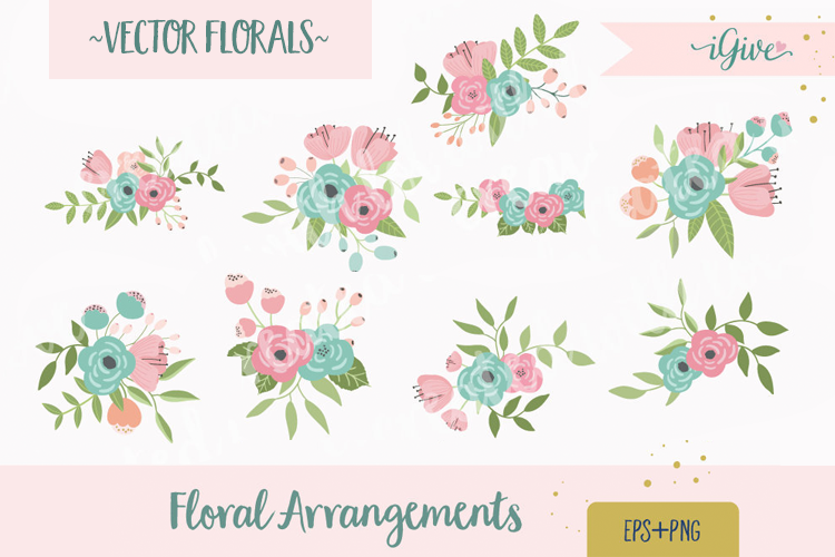 Wedding Florals - Mint, Pink and Blush - Vector Florals example image 1