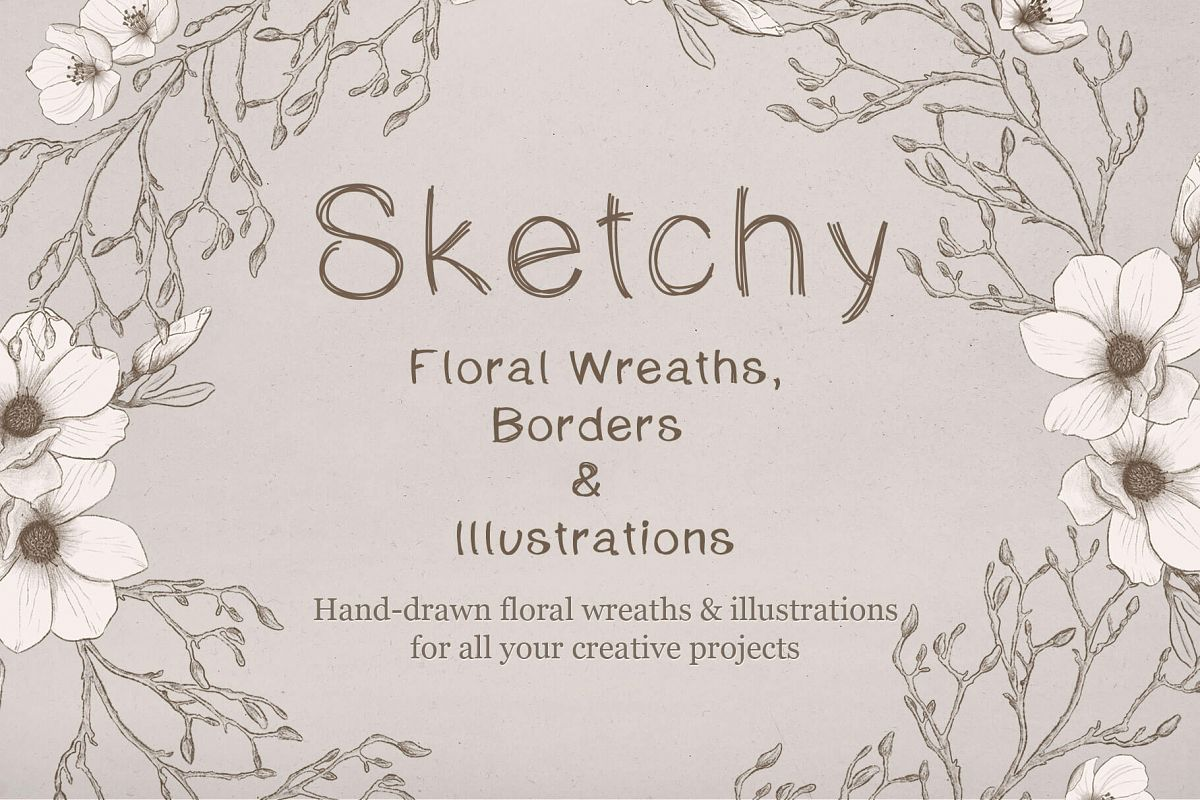 Sketchy Floral Wreaths & Borders example image 1