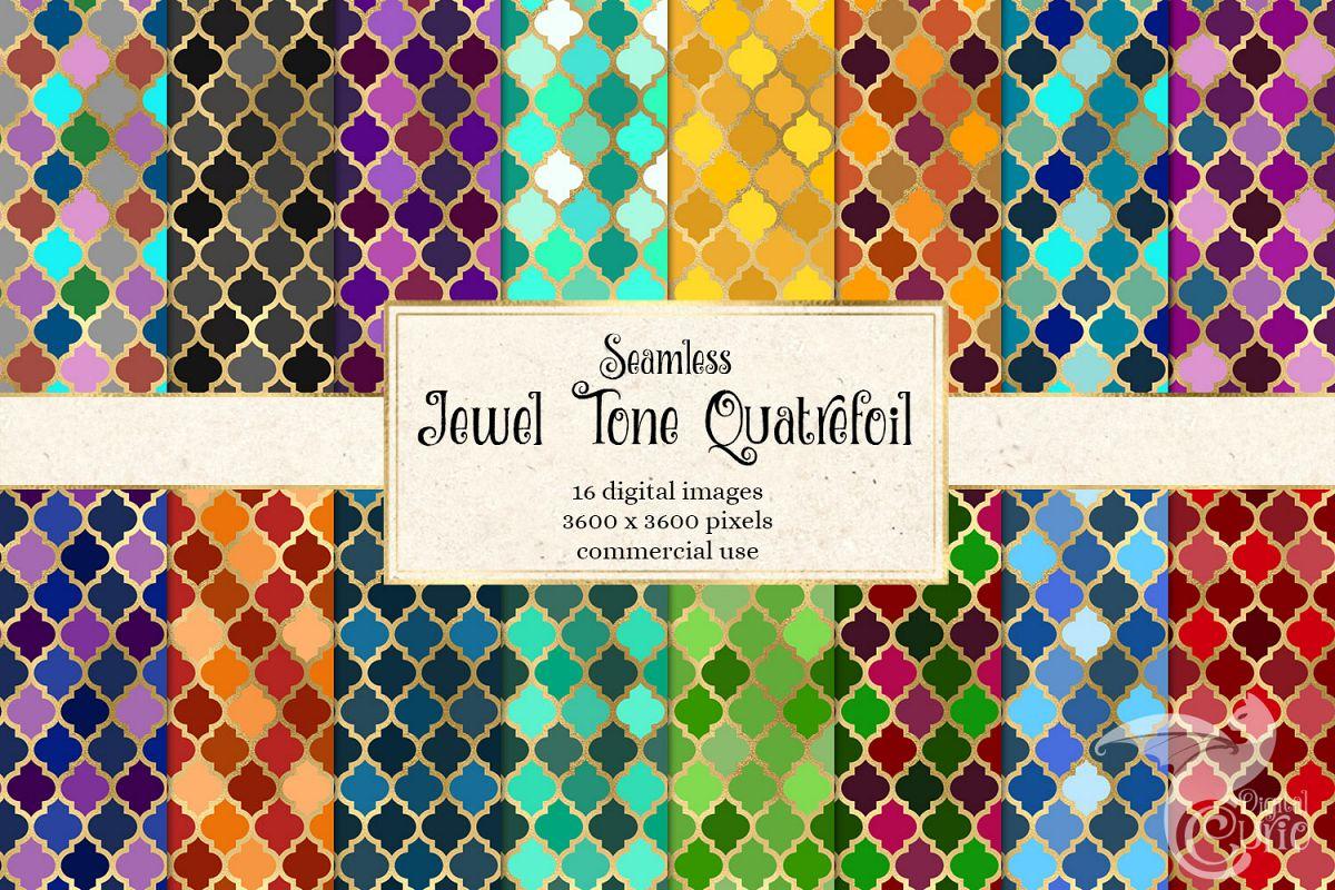 Jewel Tone Quatrefoil Digital Paper example image 1