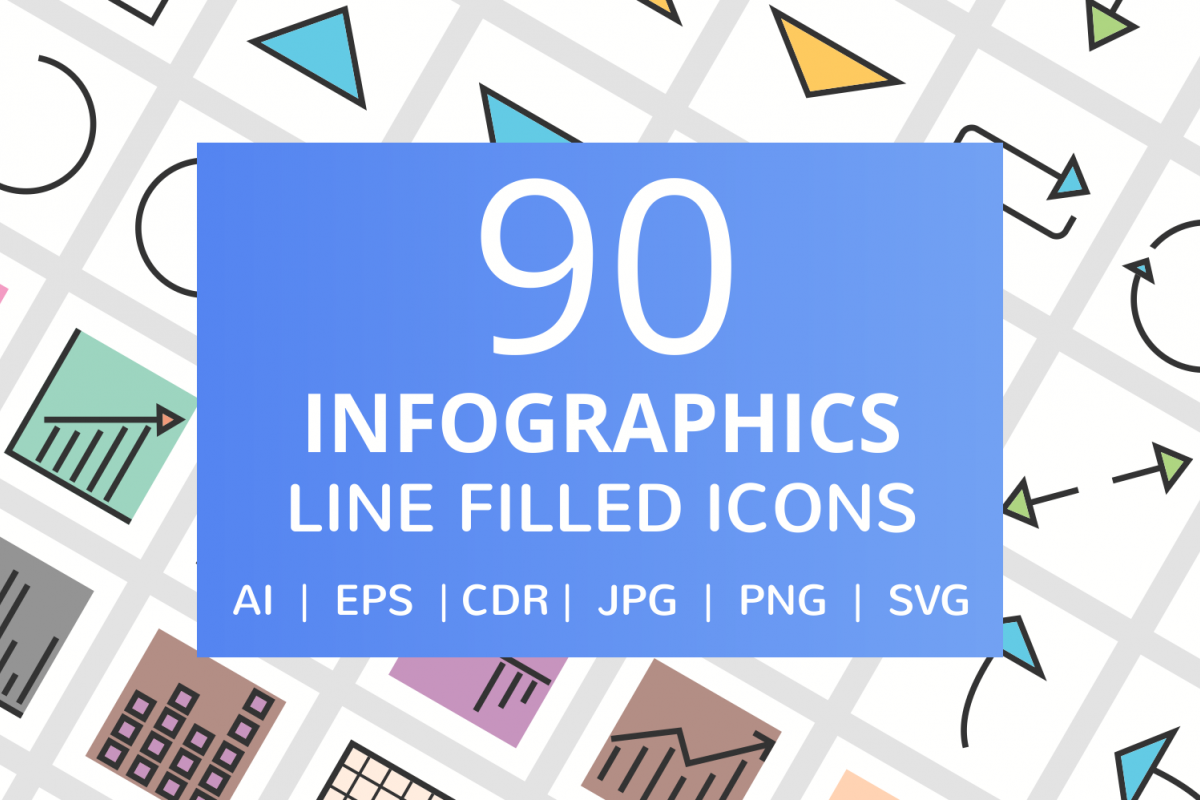 90 Infographics Filled Line Icons example image 1