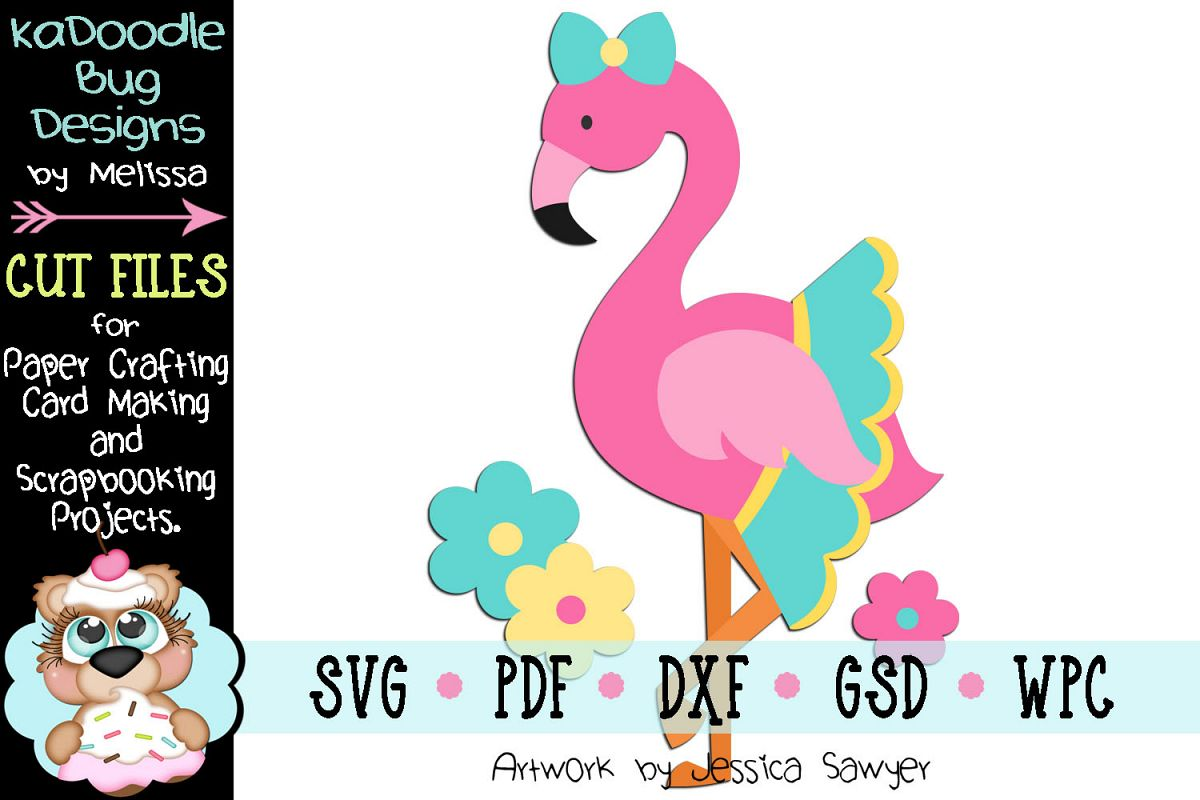 Pretty Flower Flamingo Cut File - SVG PDF DXF GSD WPC example image 1