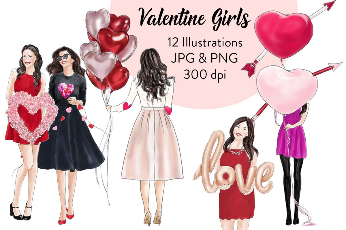 Valentine girls fashion clipart example image 1