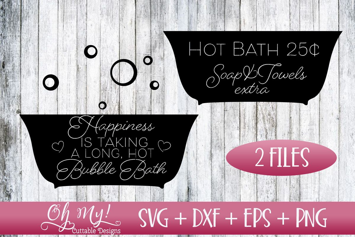 Hot Bath - Bathroom Signs - SVG DXF EPS PNG example image 1