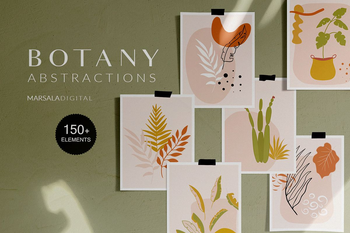 Botanical Abstract Collection Leaves Tropics Summer example image 1