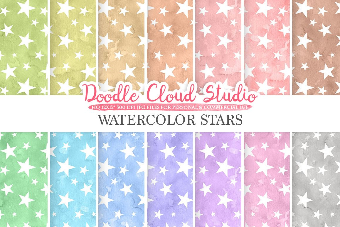 Watercolor Stars digital paper, Stars patterns, pastel watercolor night sky background, Instant Download, for Personal & Commercial Use example image 1