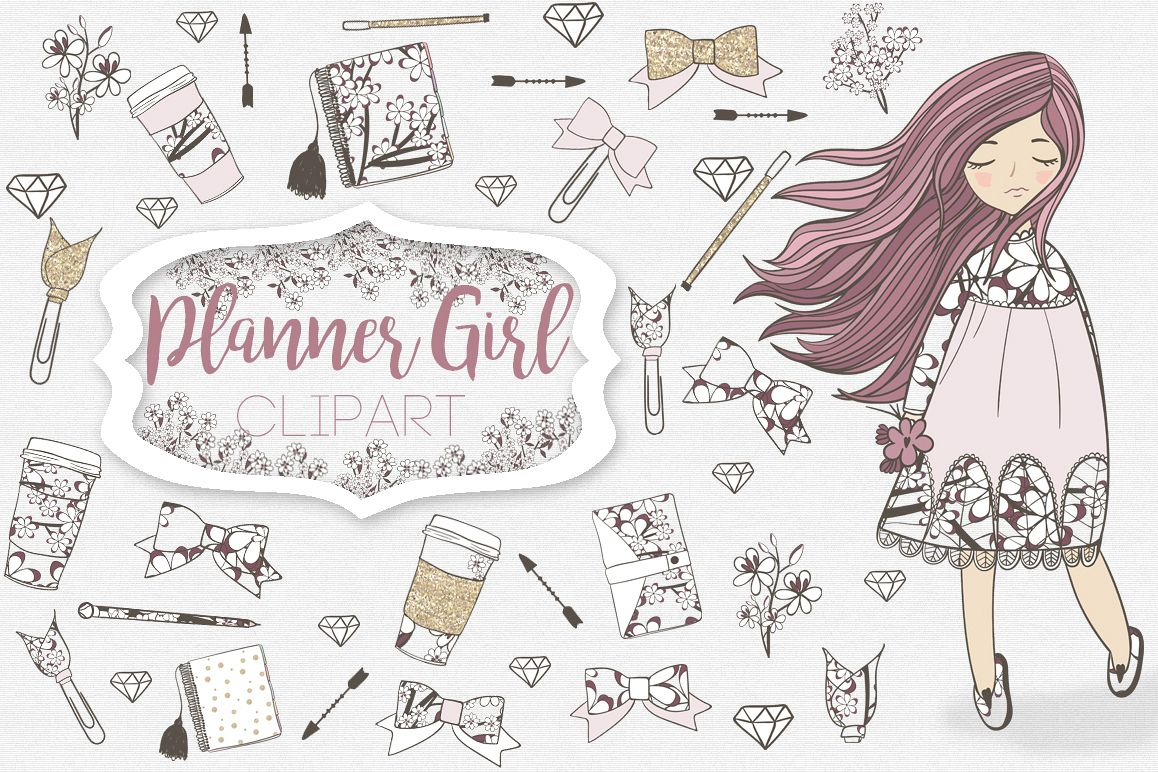 Planner Girl Clipart example image 1