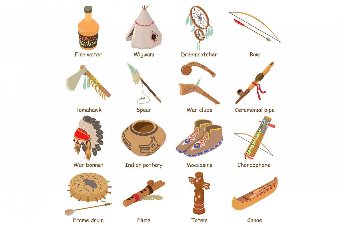 Indians ethnic american icons set, isometric style example image 1