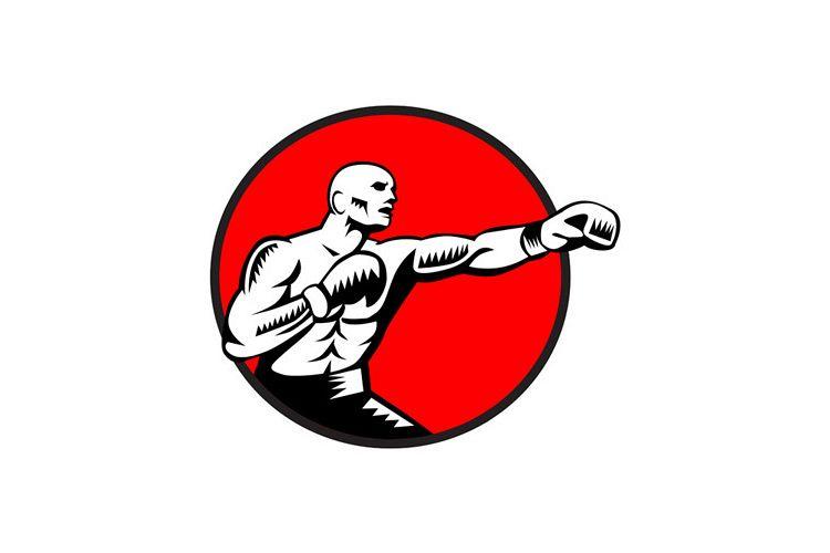 Boxer Jabbing Punching Circle Woodcut example image 1